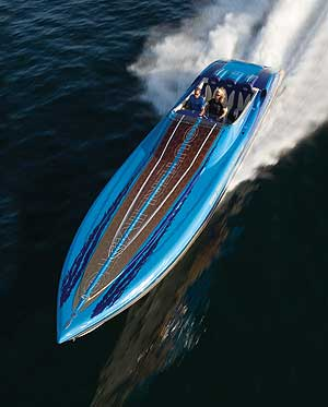 "The award-winning Outerlimits 46' LTD featured Mercury Racing 1075SCi engines, Herring 5-blade propellers (18"" x 34.5"") and achieved a top speed of 124.5 mph at 6,100 rpm."