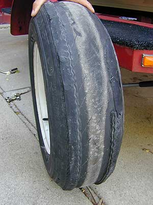 God bless BF Goodrich…the delaminated carcass of this boat trailer tire got its owner home in one piece.
