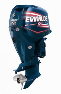 The New Evinrude E-TEC 250 H.O. features a high-speed Lightning gear case with more robust gears. Intake and exhaust revisions further boost performance of a V6 powerhead stroked from 3.3 to 3.4 liters.