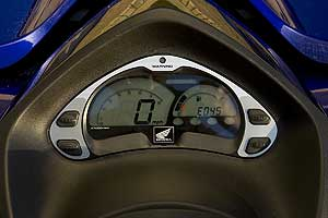 "The dash on the new Honda F15-X includes a count-down ""time-to-ride"" display that calculates how long you can ride in minutes at your present speed, so riders can optimize fuel economy."