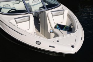 Forward, the Sea Ray 210 Select has bow seating and an anchor locker.