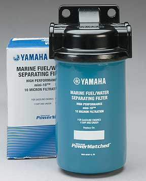 A remote fuel filter with 10-micron filtration will separate water from fuel and screen out gunk that can clog up your outboard. This compact Yamaha filter is easy to install in smaller boats.