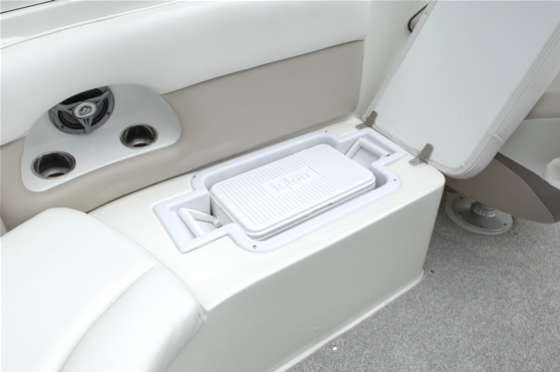 A removable cooler fits securely into this molded-in seat base.