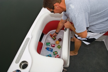 Cooler storage has easy access.