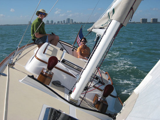 Cuyler Morris, president and son of founder Tom Morris, steers us across Biscayne Bay.