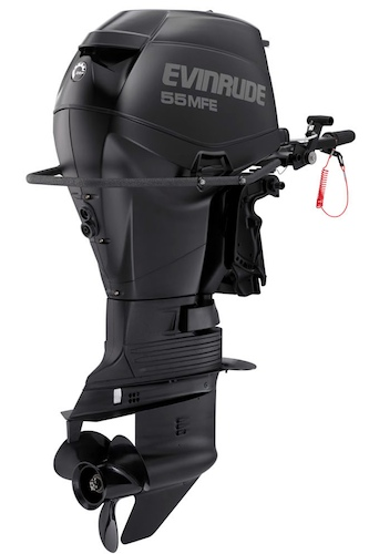 Designed for tactical missions, the Evinrude 55MFE features a wrap-around grab handle and a water-purging system. It also fits through a 30-inch submarine tube. It will run on all types of jet fuel, kerosene, and gasoline.