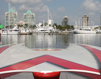 A view of Miami's Coconut Grove from the bow of a Poker Run competitor.