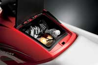 Water bottles and other gear easily fit in the larger glove box.