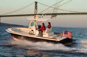 The Surfhunter 25 Center Console is designed to handle outboard, inboard and sterndrive propulsion.