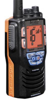 Cobra MR HH475 FLT BT, a new floating handheld VHF has Bluetooth, so you can use it as your phone.