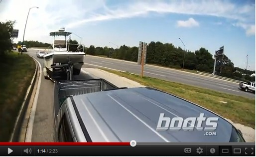 trailering a boat on the road