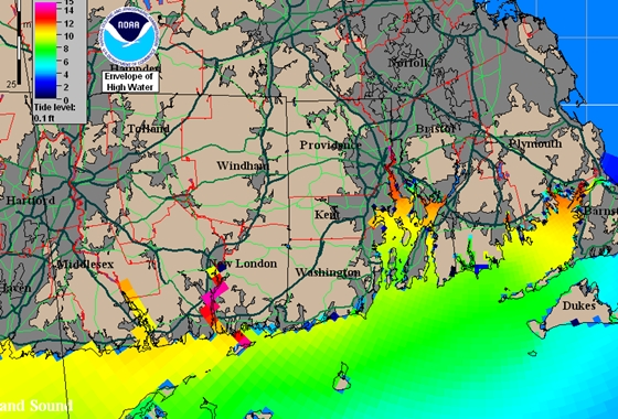 A simulation of the storm surge in New England at the height of the Hurricane of 1938, a brute that caused tremendous devastation then, and would do far worse today. The yellow areas show a surge 10 feet above normal high water. The red areas in New London, Providence, and Buzzard's Bay were even worse. Image courtesy of the National Hurricane Center.