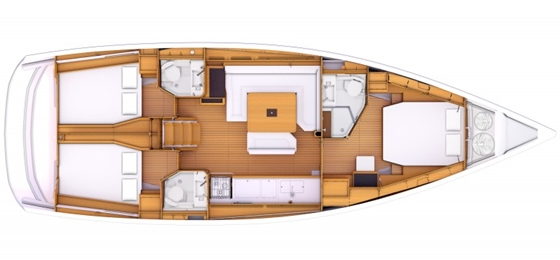 The three-cabin layout has an optional third head compartment and linear galley arrangement.