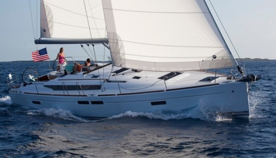 The Jeanneau Sun Odyssey 469, shown sailing with the standard 106-percent genoa.