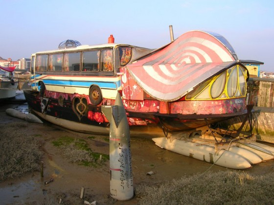 houseboat sitting in mud