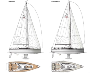 The Dehler 38 is offered in two versions, a basic cruising layout with aluminum mast, and a sportier, lighter version with a carbon-fiber spar.