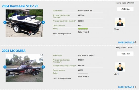 Fun2Rent listings showing daily rental rates and deposit requirements for a PWC and a tow-sports boat, both in California.