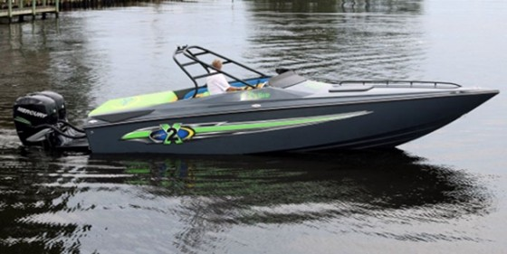 "According to Baja, the 26 Outlaw Outboard is the company's ""first-ever outboard-powered performance boat."""