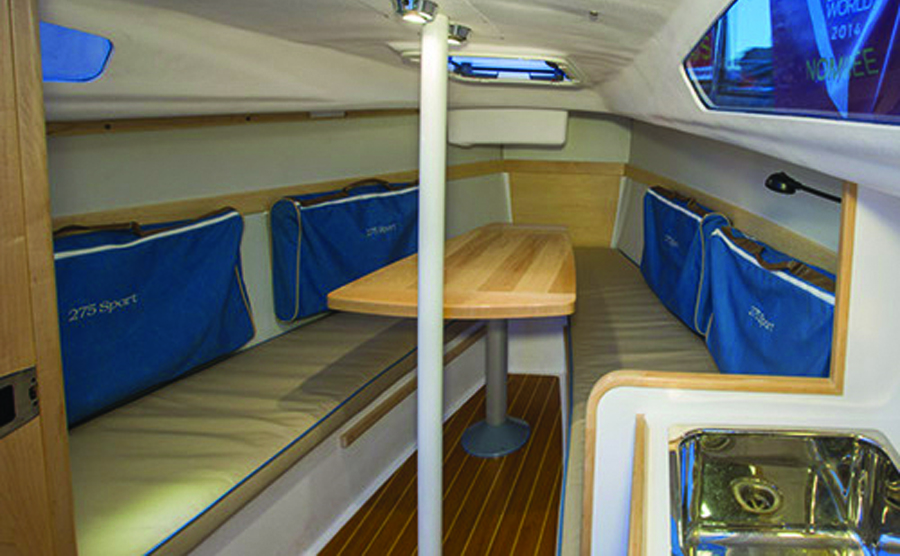 A photo of the V-berth on the Catalina 275 Sport.