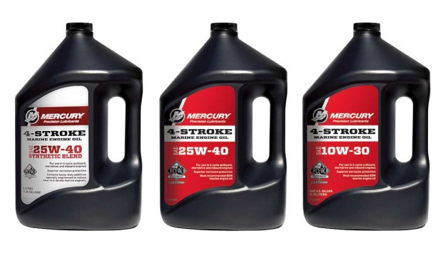 A photo of three bottle of Mercury Marine oil.