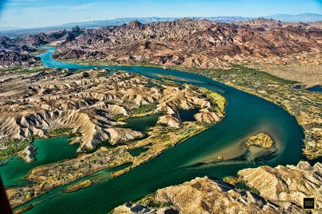 A photo of teh Colorado River near Lake Havasu.