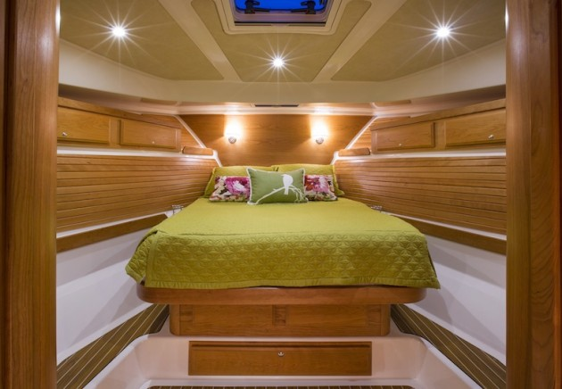 A photo of teh master stateroom in the Back Cove 41.