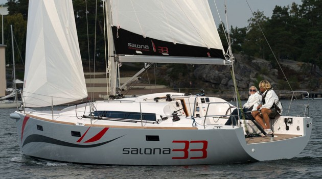 A photo of the Salona 33 underway.