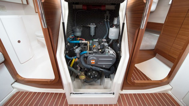 A photo of the Yanmar diesel on the Salona 33.