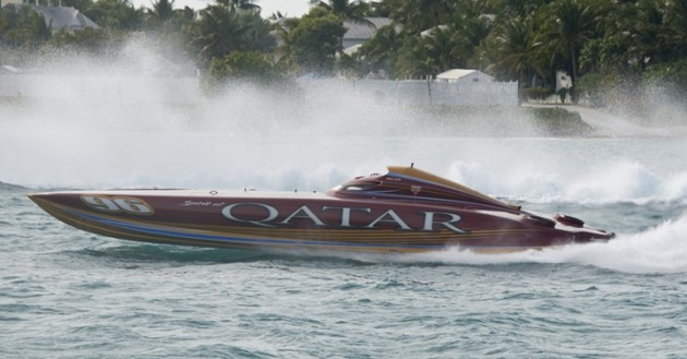 While it probably won't have Turbine-class competition, the Spirit of Qatar's turbine-powered cat is scheduled to make its 2014 season debut in Sarasota. Photo by Andy Newman.