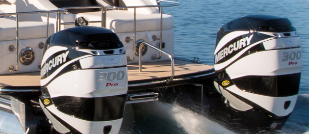 Twin, 300-horsepower Mercury Verado outboards can push the Crowne 250 well past 60 mph. That's fast for any boat, much less a pontoon.