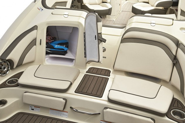 The Yamaha 242 Limited features teak-look matting and upgraded upholstery. New wet gear compartments are a feature of all 240 Series models.