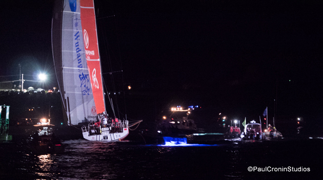 Dongfeng shows us her transom, just after yet another jibe. Photo: PaulCroninStudios