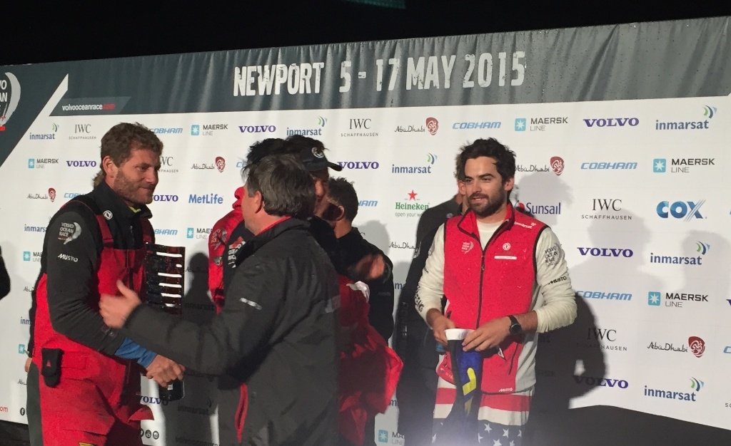 Dongfeng Racing skipper Charles Caudrelier and onboard reporter Sam Greenfield receive Leg 6 victory congratulations