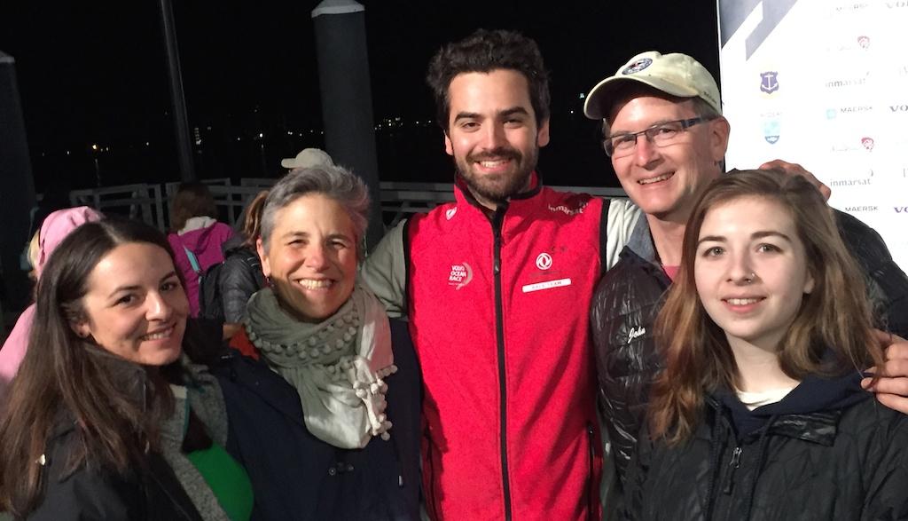 Volvo Ocean Race fan photo including onboard reporter Sam Greenfield.
