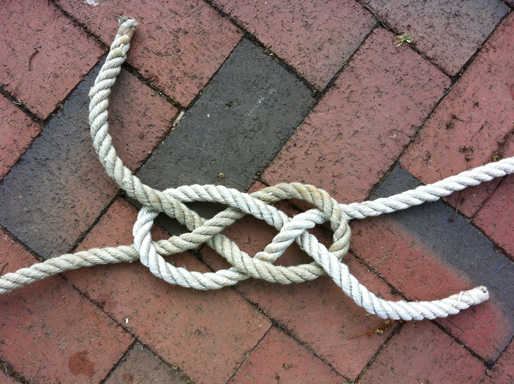 The Carrick bend is used to bend together two lines of the same diameter.