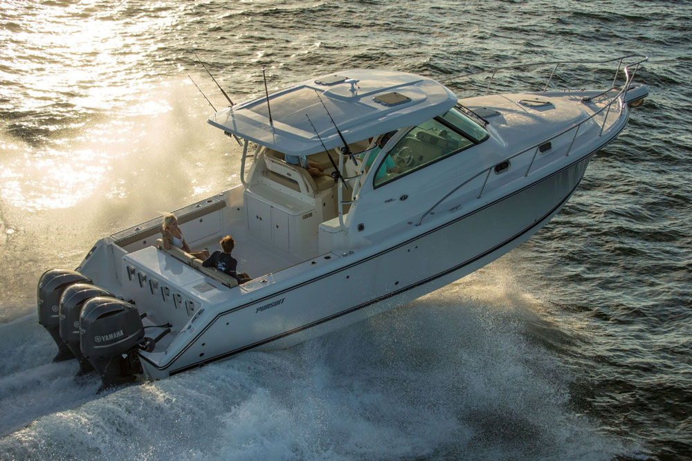 Modern powerboats come in all shapes and sizes, and may have several different types of engines. Read on, to find out why this Pursuit OS 385 is not just a powerboat, but is also a deep-V outboard planning walkaround boat—and to learn a whole lot more.