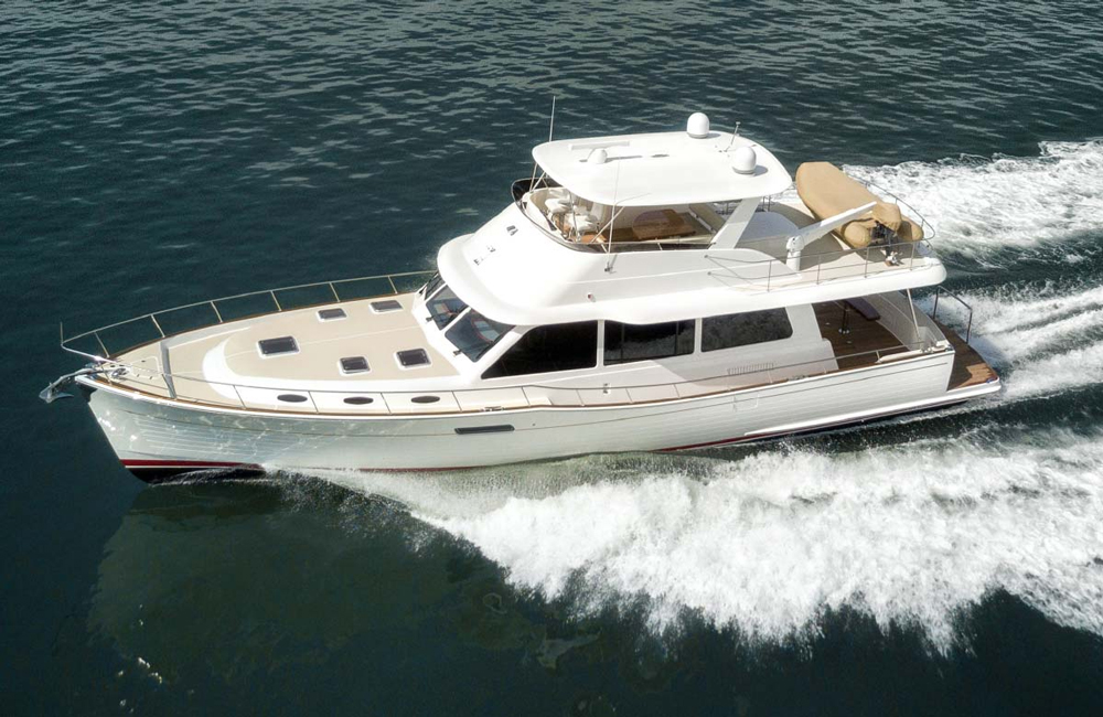 Grand Banks says top speed for the new 60 is 35 knots, depending on the engine package.