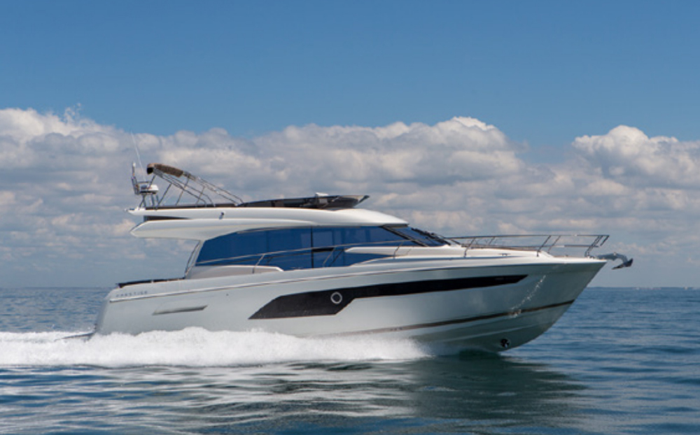 Standard power on the Prestige 520 Flybridge is a pair of 435-hp Volvo Penta IPS600 diesels. The builder puts the top speed at 26 knots with a 22-knot cruise.